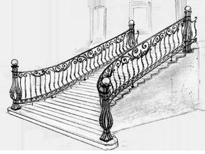 эскиз парадного кованого крыльца