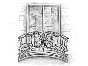 эскиз французского кованого балкона