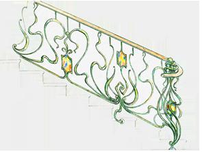 кованые лестницы с красивыми столбами