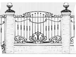 эскиз кованых ворот и забора