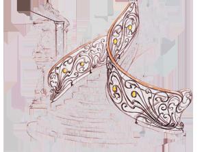 эскиз парадной кованой лестницы