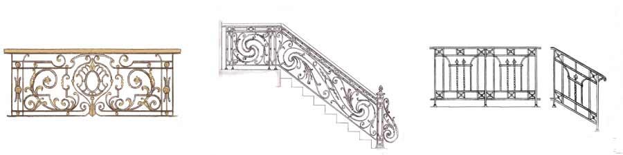 эскизы кованых узоров веранда